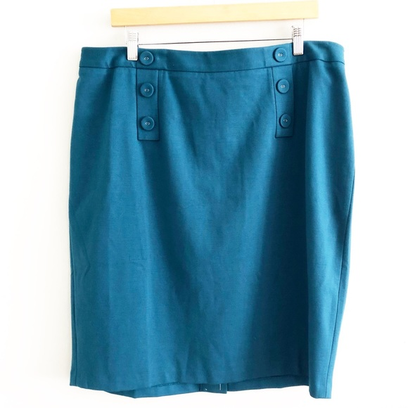 Talbots Dresses & Skirts - NEW Talbots Teal Button Front Skirt
